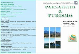 Locandina evento Paesaggio e Turismo