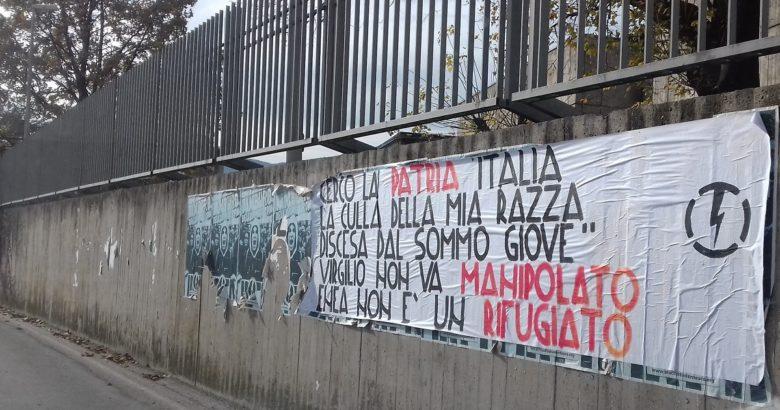VENAFRO - Muro per comunicare, scritta ideologicopatriottica all'esterno del SS Rosario