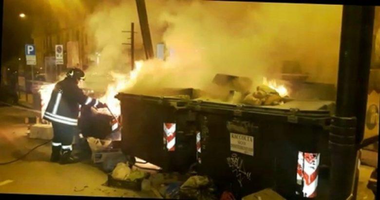 Campobasso - cassonetti rifiuti a fuoco