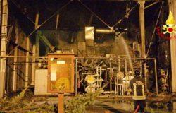 Incendio alla centrale elettrica larino