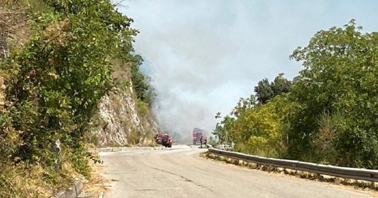 Incendio, Santa Maria Oliveto, fuoco, lambisce le case