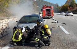 Auto in fiamme, paura, Statale