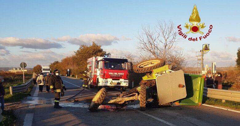 Incidente stradale, autoarticolato, trattore